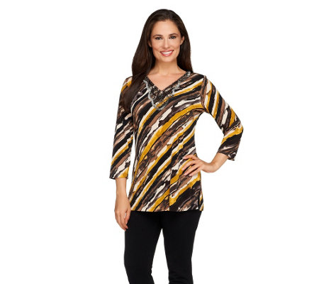 Susan Graver Printed Liquid Knit 3/4 Sleeve Embellished Top