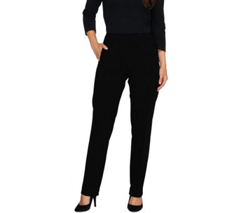 Susan Graver Soho Ponte Fly Front Pants w/ Faux Leather Detail - Petite - A258791