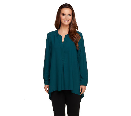 Susan Graver Long Sleeve Woven Henley Front Tunic - Petite