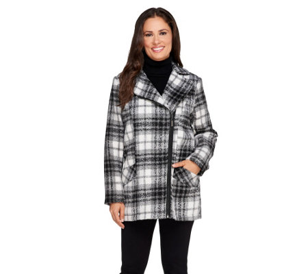 Susan Graver Asymmetrical Zip Front Faux Wool Coat