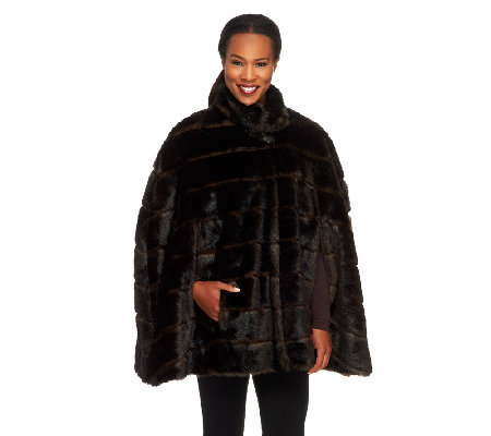 Dennis Basso Platinum Collection Faux Sable Poncho Cape