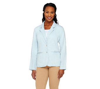 Liz Claiborne New York Denim Blazer with Pockets - A262191