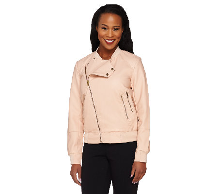 Lisa Rinna Collection Asymmetric Zip Faux Leather Bomber Jacket