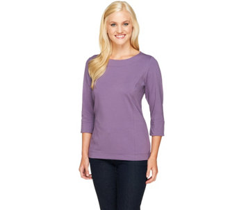 """As Is"" Denim & Co. Essentials Knit Top with Princess Seams - A263791"