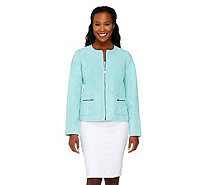 Dennis Basso Washable Suede Zip Front Jacket with Pockets - A264191