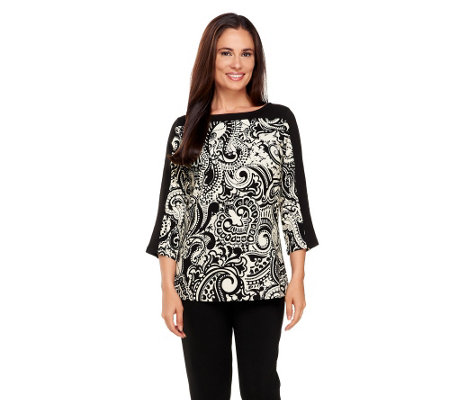 """As Is"" Susan Graver Printed Cotton Spandex 3/4 Sleeve Top"
