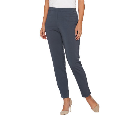 Susan Graver Milano Knit Comfort Waist Pull-On Slim Leg Ankle Pants