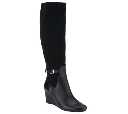 """As Is"" Isaac Mizrahi Live! Leather and Stretch Fabric Wedge Boots"