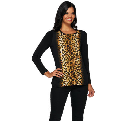 Susan Graver Printed Feather Weave with Solid Liquid Knit Top