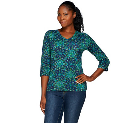 Denim & Co. Medallion Printed Jersey 3/4 Sleeve V-neck Top