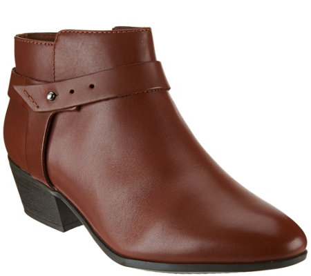 Clarks Leather Ankle Boots w/ Strap Detail- Boylan Dawn