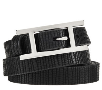 "H by Halston Lizard Embossed Leather Belt with ""H"" Buckle - A272191"