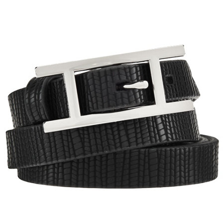 "H by Halston Lizard Embossed Leather Belt with ""H"" Buckle"