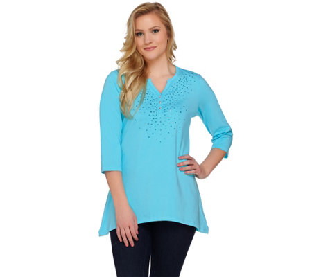 Quacker Factory Studded Sparkle Trapeze Hem 3/4 Sleeve Tunic