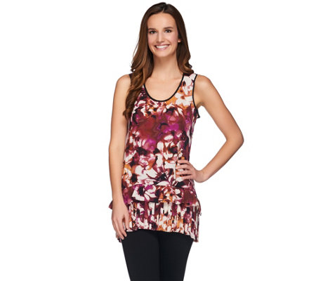 LOGO by Lori Goldstein Printed Crepe Sleeveless Tunic Top