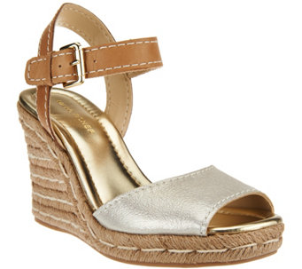 Marc Fisher Leather Peep- toe Espadrille Wedges - Maiseey - A274291