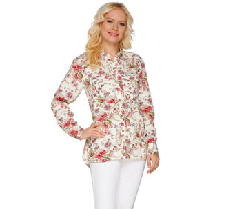 "C. Wonder Classic Floral Print Button Front ""Carrie"" Blouse - A275091"