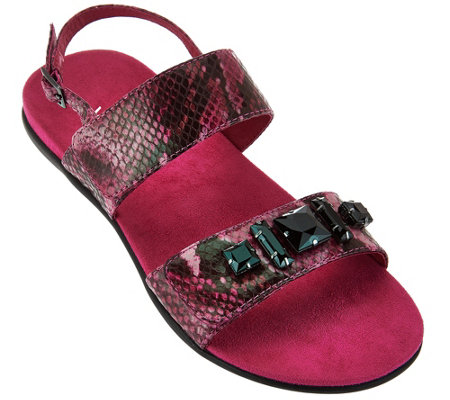 Vionic Orthotic Leather Embellished Sandals - Dupre