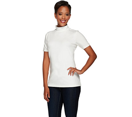 """As Is"" Susan Graver Weekend Cotton Modal Short Sleeve Mock Neck Top"