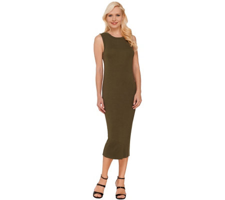 """As Is"" G.I.L.I. Petite Ribbed Knit Sleeveless Midi Dress"