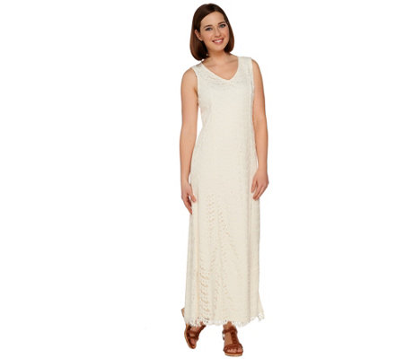 Isaac Mizrahi Live! Petite Lace Maxi Dress with Scallop Hem