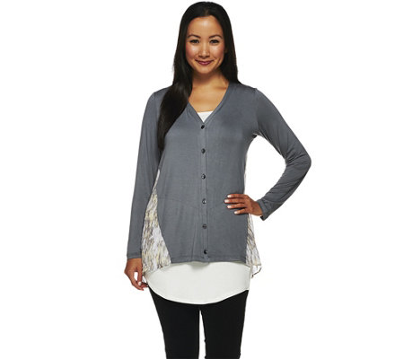 """As Is"" LOGO by Lori Goldstein Knit Cardigan with Printed Chiffon Back"