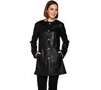 Dennis Basso Basket Weave Embossed Faux Leather Long Jacket - A278691