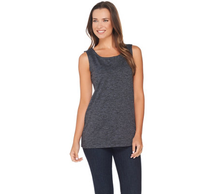 LOGO Lotus by Lori Goldstein Space Dye Straight Hem Knit Tank