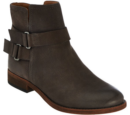 Franco Sarto Leather Ankle Boots w/ Buckle Detail - Harwick