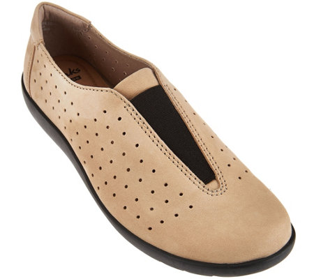 Clarks Perforated Nubuck Leather Slip-On Shoes - Medora Gemma