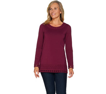 Isaac Mizrahi Live! Long Sleeve Tunic with Lace Trim - A283791