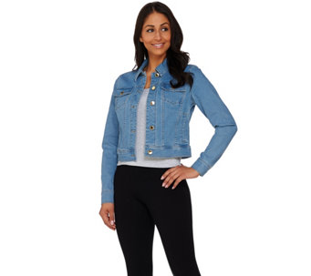 """As Is"" C. Wonder Cropped Denim Jacket with Signature Buttons - A284291"