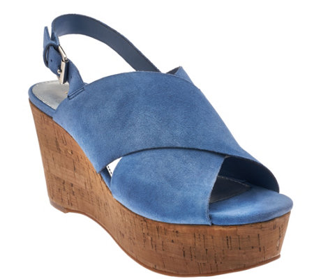 """As Is"" Marc Fisher Leather Cross-Band Back-Strap Wedges - Sesame"
