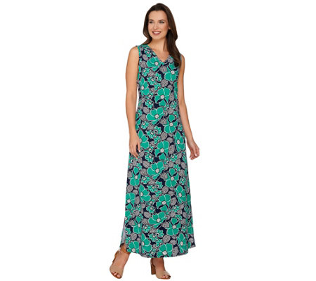 """As Is"" Denim & Co. Sleeveless Floral Printed Maxi Dress"