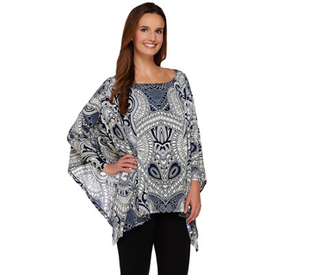 """As Is"" Attitudes by Renee Dolman Sleeve Printed Poncho Top"