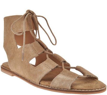 """As Is"" Sole Society Suede Lace-up Sandals - Cady"