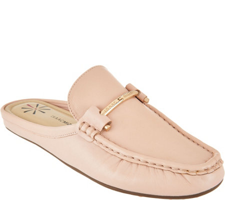 Isaac Mizrahi Live! Leather Mule Moccasins with Hardware