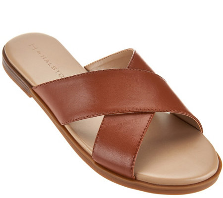 """As Is"" H by Halston Leather Crossover Sandal - Rin"