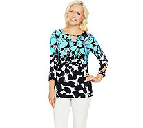 Susan Graver Printed Liquid Knit Top with Keyhole Trim - A288491