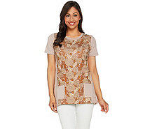 LOGO Lounge by Lori Goldstein Short Sleeve Top with Lace Overlay - A288891