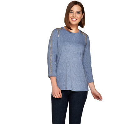 """As Is"" Susan Graver Artisan Stretch Cotton Modal 3/4 Sleeve Top"