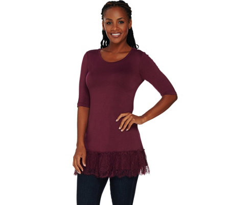 """As Is"" LOGO by Lori Goldstein Knit Top with Gathered Lace Hem"