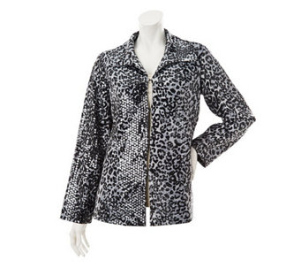 """As Is"" George Simonton Fully Lined Animal Print Jacket w/ Paillettes - A293291"