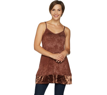 LOGO Layers by Lori Goldstein Printed Cami Tank w/ Velvet Bottom Band
