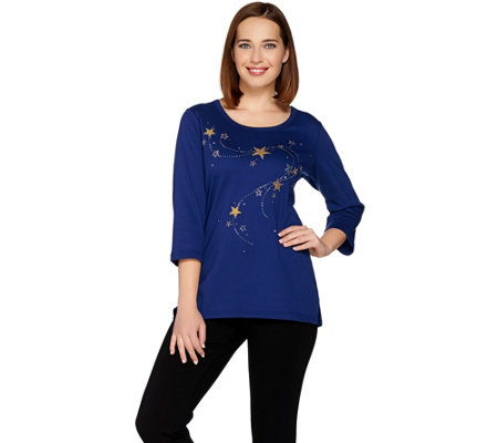 """As Is"" Quacker Factory Wishing on a Star 3/4 Sleeve T-Shirt"