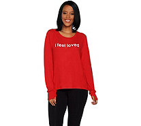 Peace Love World Affirmation Comfy Knit Top w/ Zipper Sides - A296691