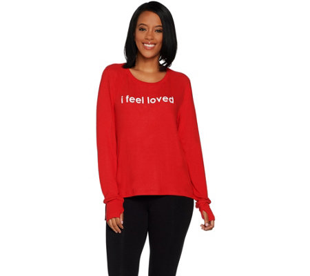 Peace Love World Affirmation Comfy Knit Top w/ Zipper Sides