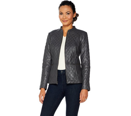 Isaac Mizrahi Live! Leather Mixed Quilting Zip Front Jacket