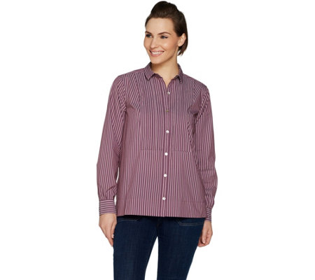LOGO by Lori Goldstein Woven Striped Shirt with Pleated Neck