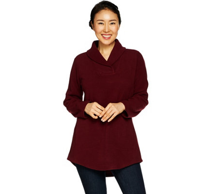 Denim & Co. Petite Shawl Collar Long Sleeve Fleece Tunic